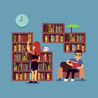 Jovem, par, leitura, livros, -, apartamento, biblioteca, ou, sala de estar, conceito