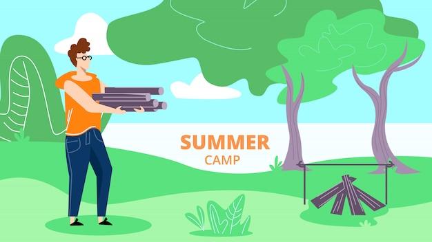 Jovem passa o tempo no acampamento de verão
