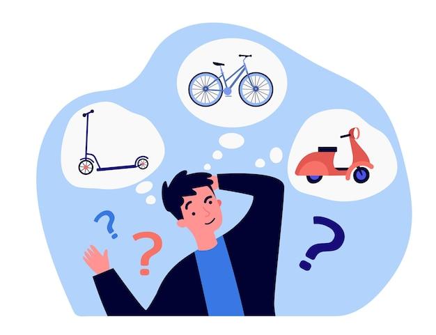 Jovem pensando sobre meio de transporte. ilustração em vetor plana. cara dos desenhos animados, escolhendo entre scooter, bicicleta e motocicleta. veículo, passeio, conceito de aventura para design de banner ou página de destino