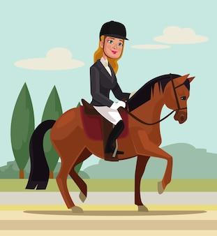Jovem personagem cavalgando a cavalo esporte profissional ilustração dos desenhos animados
