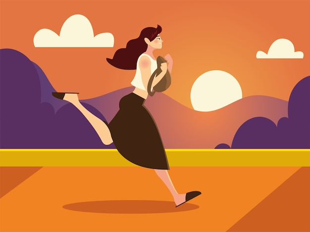 Jovem personagem correndo com uma bolsa na ilustração da paisagem