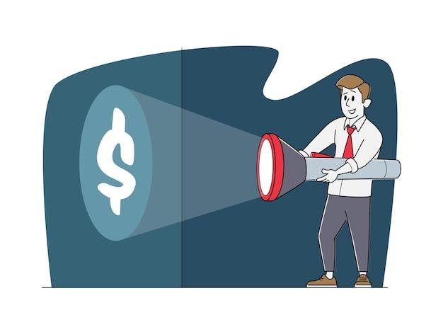 Jovem personagem de homem de negócios em traje formal segurando uma enorme lanterna acendendo o símbolo do dólar na parede, procurando dinheiro, maneira de ganhar, descobrindo a metáfora da fonte de renda oculta