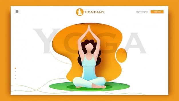 Jovem personagem fazendo exercício em sukhasana ou meditação posar em resumo para yoga base landing page.