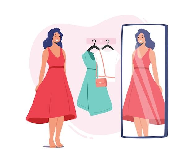 Jovem personagem feminina experimentando roupas no camarim da loja