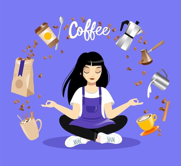 Jovem personagem feminina sentada em pose de lótus, itens de café levitam por aí. menina barista vestindo avental meditando sobre fundo azul. ilustração de conceito de amante de café em estilo simples e colorido.