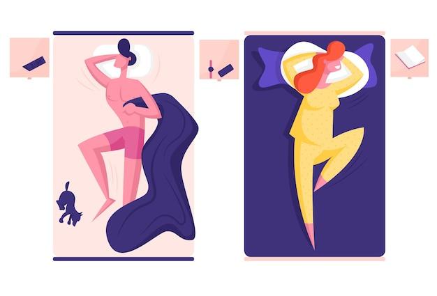 Jovem personagem masculino e feminino dormindo em camas separadas