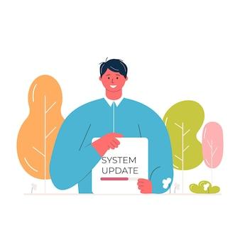 Jovem personagem masculino segurando cartaz com barra de progresso. conceito de atualização do sistema e upload de arquivos. carregando o vetor de banner para a página da web eco.