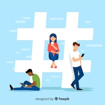 Jovem, pessoas, hashtag, conceito, fundo