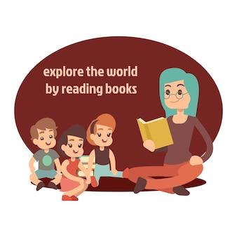Jovem professor e crianças felizes lendo livro
