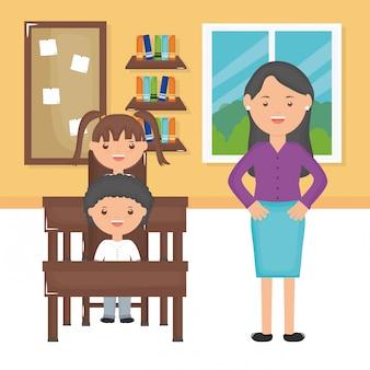 Jovem, professor feminino, com, estudantes, em, sala aula