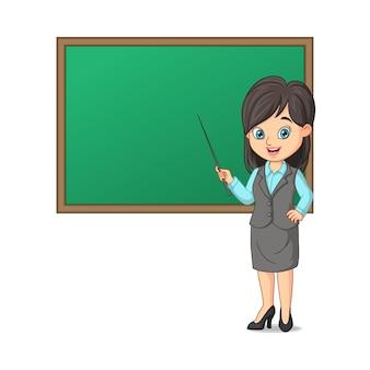 Jovem professora com quadro negro e bastão apontador