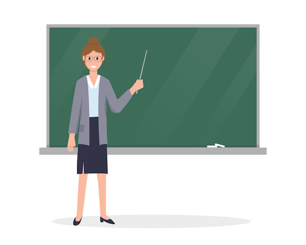Jovem professora com um ponteiro perto do quadro-negro em sala de aula.