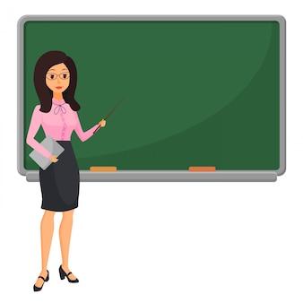 Jovem professora perto de lousa, ensinando o aluno em sala de aula na escola, faculdade ou universidade. personagem de mulher de desenho design plano.