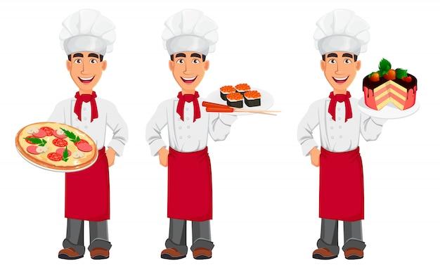 Jovem, profissional, cozinheiro, em, uniforme, e, cozinheiro, chapéu