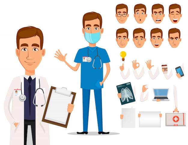 Jovem, profissional, doutor, trabalhador médico