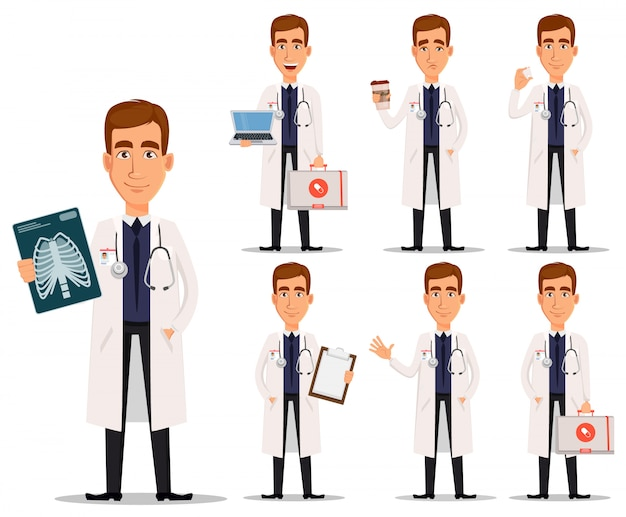 Jovem profissional médico no jaleco branco