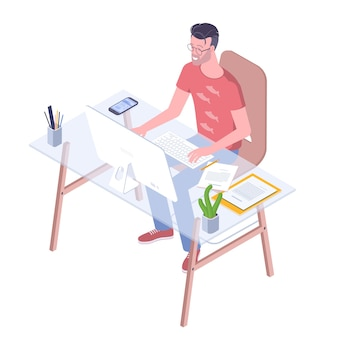 Jovem profissional trabalhando no conceito de design plano para design de personagens e aplicativos móveis
