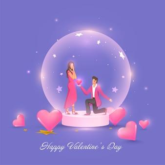 Jovem propondo sua namorada dentro de um globo de vidro com brilhantes corações rosa
