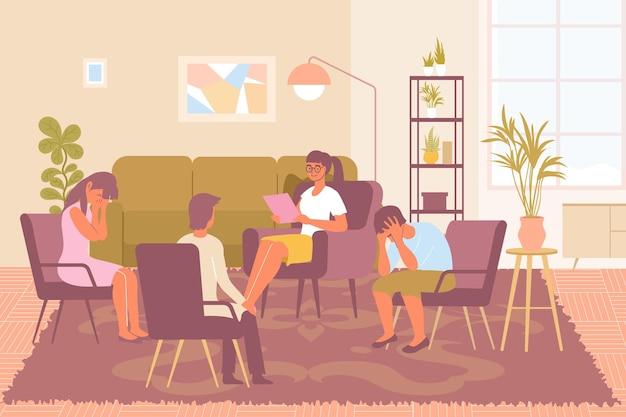 Jovem psicóloga e três pessoas frustradas durante a sessão de psicoterapia de grupo