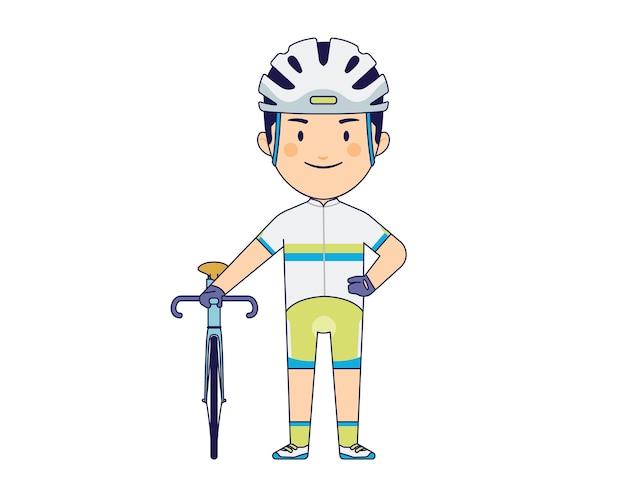 Jovem rapaz com caráter de bicicleta de estrada
