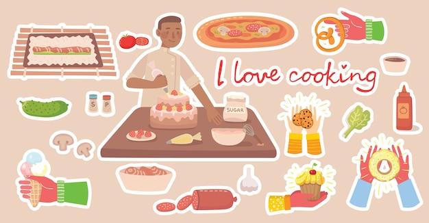 Jovem rapaz cozinhando na cozinha em casa. cozinhar o conceito de vetor de adesivos. ilustração vetorial em estilo moderno de design plano