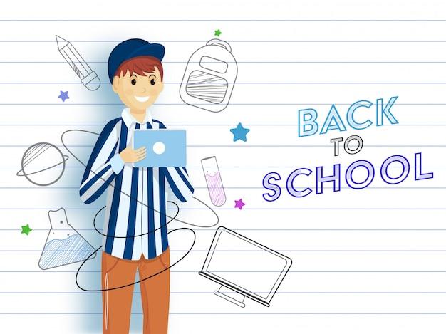 Jovem rapaz dos desenhos animados usando tablet com estilo doodle fornece elementos e computador