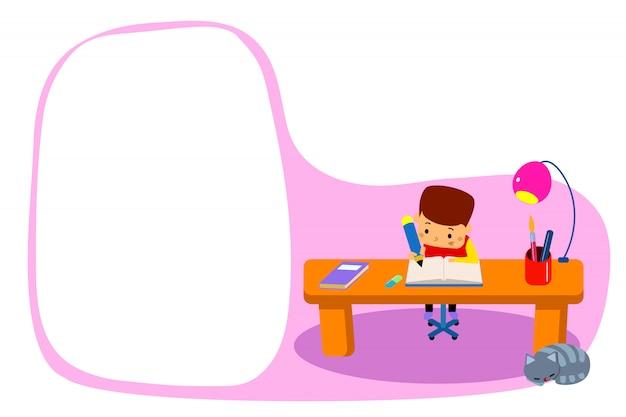Jovem rapaz fazendo lição de casa.