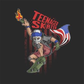 Jovem rebelde com molotov brincando de ilustração de skate