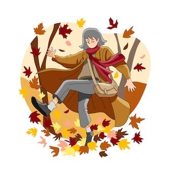 Jovem se divertindo ao ar livre no outono
