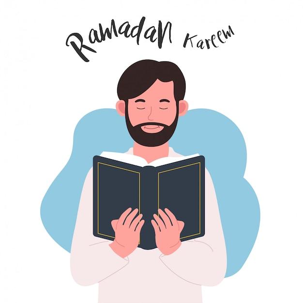 Jovem segura livro ramadan kareem