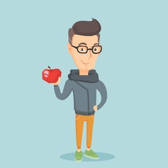 Jovem, segurando a ilustração vetorial de apple.