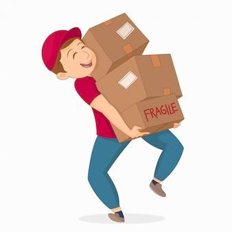 Jovem, segurando, cardboxes