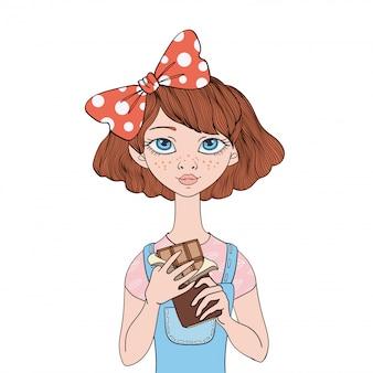 Jovem segurando uma barra de chocolate. guloso. ilustração do retrato, em fundo branco.