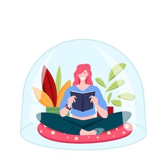Jovem sentada sob uma cúpula transparente em design plano