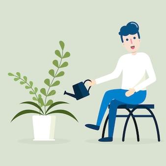 Jovem sentado e regador plantar em panela. desenho de personagem plana sobre fundo verde.