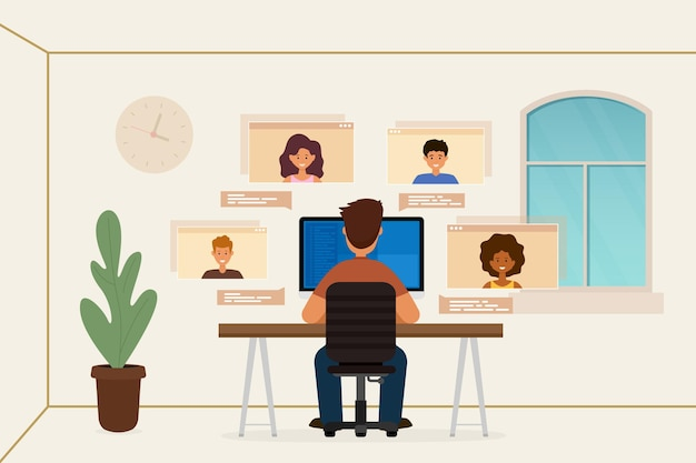 Jovem sentado em casa, conversando por vídeo com amigos online, ilustração