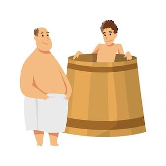 Jovem sentado em uma banheira. procedimento de banhos ou banya. pessoas planas. atividade para bem-estar e recreação. pessoas que apreciam procedimentos de sauna