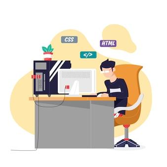 Jovem sentado na mesa escrevendo códigos. programador digitando código de dados, trabalhando no projeto da empresa de desenvolvimento de software