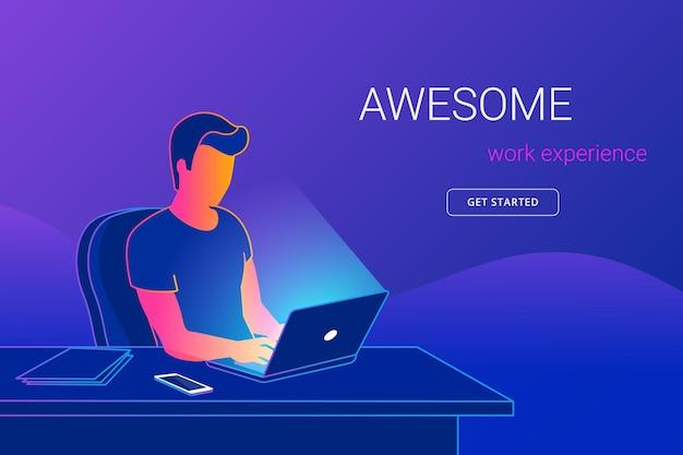 Jovem sentado no escritório, na mesa de trabalho, trabalhando com o laptop pessoas aprendendo e estudando