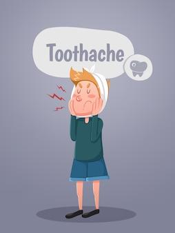 Jovem sofre de dor de dente. ilustração vetorial