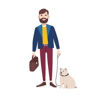 Jovem sorridente homem com barba, vestida com roupas elegantes andando bulldog. personagem de desenho animado plana segurando seu cachorro na coleira, isolado no fundo branco. dono do animal. ilustração colorida.