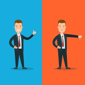 Jovem sorridente ou empresário zangado mostrando o dedo para cima ou para baixo
