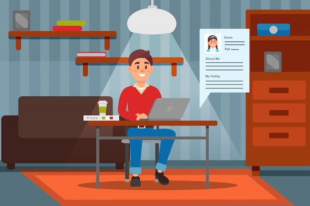Jovem sorridente, trabalhando no computador portátil em sua casa, ilustração interior do quarto