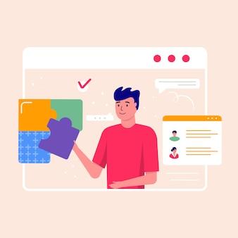 Jovem sorridente trabalhando no projeto. conceito de negócio, tópicos, soluções de projeto, modelo de página da web de destino para relatório, folheto, marketing, folheto, publicidade, folheto, estilo moderno de vetor.