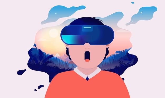 Jovem tendo uma experiência de realidade virtual de cair o queixo