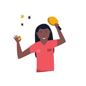 Jovem tenista de mesa realizando competições. ilustração vetorial