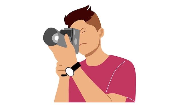 Jovem tira uma foto com a câmera Vetor Premium