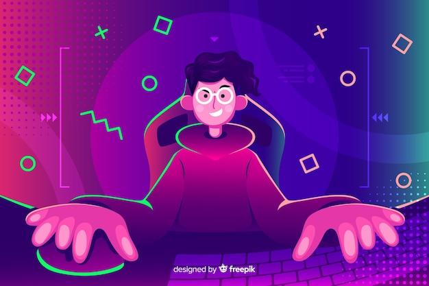 Jovem, tocando, computador