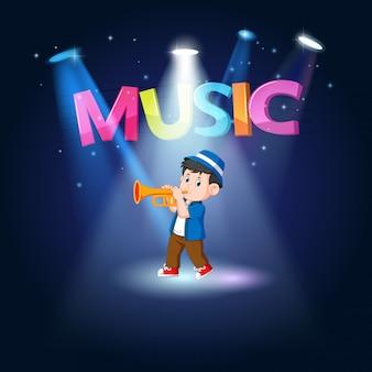 Jovem tocando trombone no palco