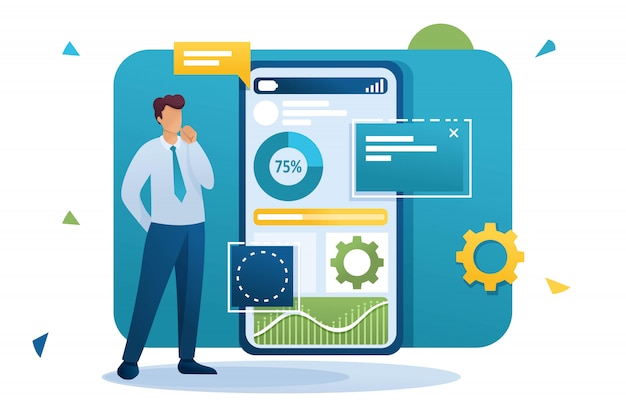 Jovem trabalha em um aplicativo móvel para coleta e análise de dados. personagem plano. conceito de web design